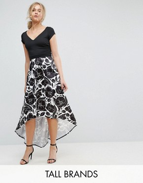 photo Hi Lo Midi Prom Dress with Floral Print Skirt by City Goddess Tall, color Black/White - Image 1