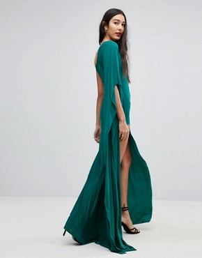 photo One Shoulder Maxi Dress with Side Split by City Goddess Tall, color Emerald Green - Image 2