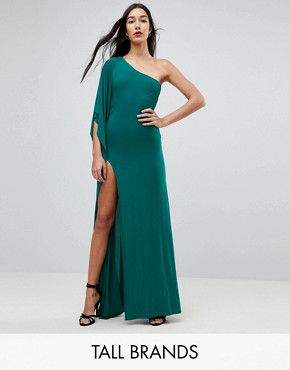 photo One Shoulder Maxi Dress with Side Split by City Goddess Tall, color Emerald Green - Image 1