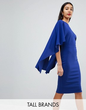 photo Midi Dress with Ruffle Sleeve by City Goddess Tall, color Sapphire Blue - Image 1