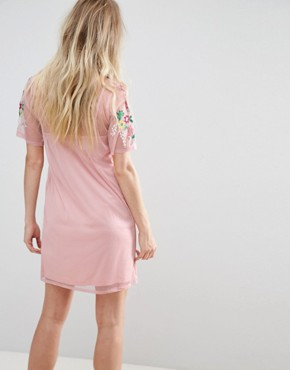 photo Mesh T-Shirt Dress with Floral Embroidery by ASOS PREMIUM, color Blush - Image 2