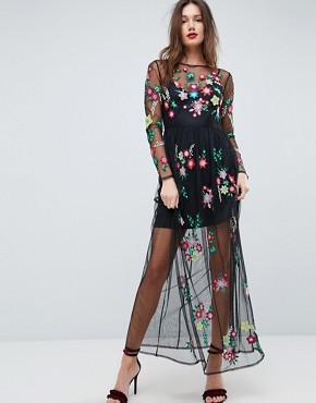 photo Mesh Maxi Dress with Floral Embroidery by ASOS PREMIUM, color Black - Image 1