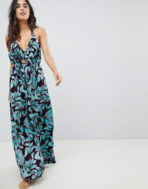 photo Woven Tie Front Maxi Beach Dress in Tropical Pop Print by ASOS, color Tropical Pop Print - Image 1