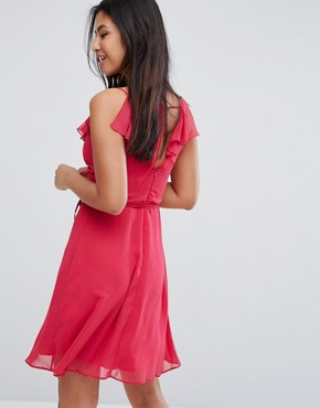 photo Belted Skater Dress with Frill Overlay by Zibi London, color Fuchsia - Image 2