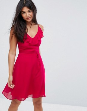 photo Belted Skater Dress with Frill Overlay by Zibi London, color Fuchsia - Image 1