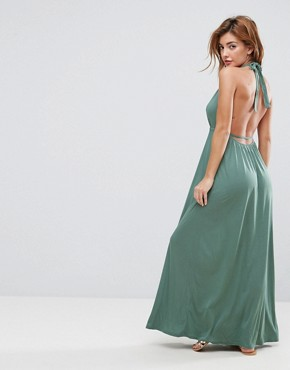 photo Tie Front Plunge Jersey Maxi Beach Dress by ASOS, color Khaki - Image 2