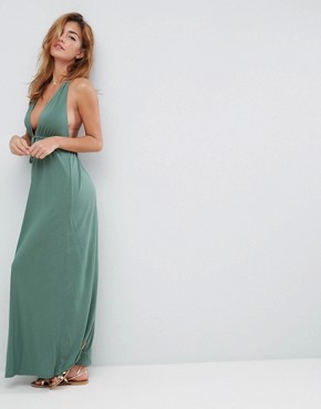 photo Tie Front Plunge Jersey Maxi Beach Dress by ASOS, color Khaki - Image 4