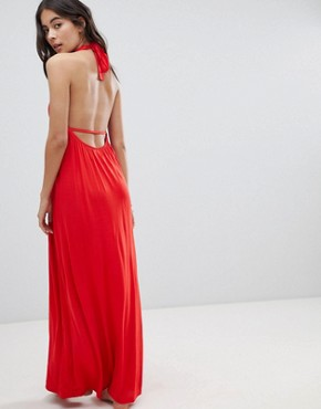 photo Tie Front Plunge Jersey Maxi Beach Dress by ASOS, color Red - Image 2