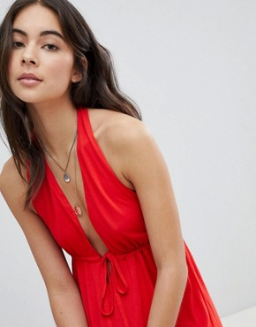 photo Tie Front Plunge Jersey Maxi Beach Dress by ASOS, color Red - Image 3