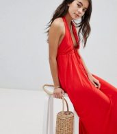 photo Tie Front Plunge Jersey Maxi Beach Dress by ASOS, color Red - Image 4