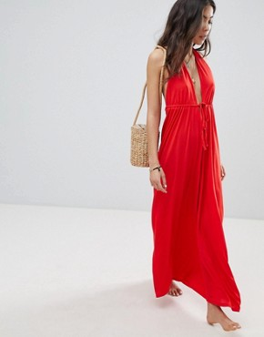 photo Tie Front Plunge Jersey Maxi Beach Dress by ASOS, color Red - Image 1
