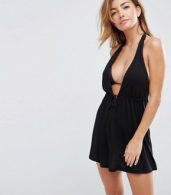 photo Tie Front Plunge Jersey Mini Beach Dress by ASOS, color Black - Image 1