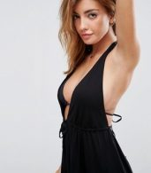 photo Tie Front Plunge Jersey Mini Beach Dress by ASOS, color Black - Image 3