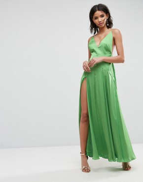 photo Cami Thigh Split Maxi Dress by ASOS ULTIMATE, color Green - Image 1