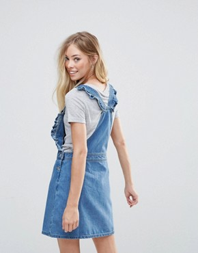 photo Frill Side Denim Dugaree Dress by Chorus, color Worn Indigo - Image 2