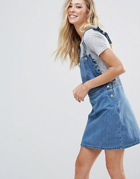 photo Frill Side Denim Dugaree Dress by Chorus, color Worn Indigo - Image 1