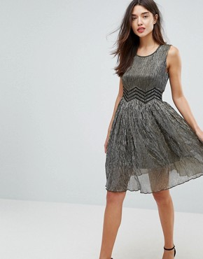 photo Metallic Skater Dress by Amy Lynn, color Gold - Image 1