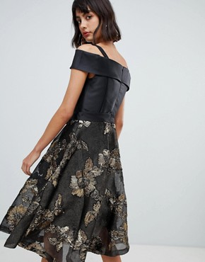 photo Bardot Skater Dress with Jacquard Skirt by Amy Lynn, color Black/Gold - Image 2