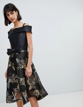 photo Bardot Skater Dress with Jacquard Skirt by Amy Lynn, color Black/Gold - Image 1