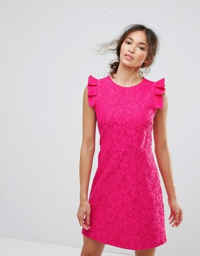photo Lace Ruffle Dress by Warehouse, color Bright Pink - Image 1
