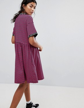 photo Smock Dress in Stripe with Bad for You Taping by Lazy Oaf, color Pink - Image 2
