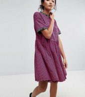 photo Smock Dress in Stripe with Bad for You Taping by Lazy Oaf, color Pink - Image 1