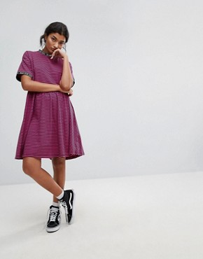 photo Smock Dress in Stripe with Bad for You Taping by Lazy Oaf, color Pink - Image 4