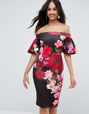 photo Printed Pencil Midi Dress with Frill Sleeve by Jessica Wright, color Navy - Image 1