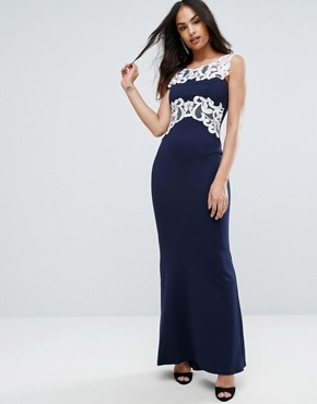 photo Maxi Dress with Lace Inserts by Jessica Wright, color Navy - Image 1