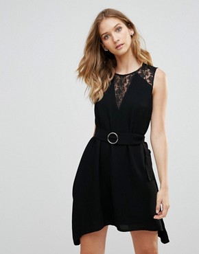 photo Hennesy Lace Insert A-Line Dress by French Connection, color Black - Image 1