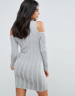 photo Mozart Ladder Knit Cold Shoulder Dress by French Connection, color Light Grey Mel - Image 2