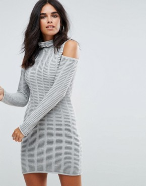 photo Mozart Ladder Knit Cold Shoulder Dress by French Connection, color Light Grey Mel - Image 1