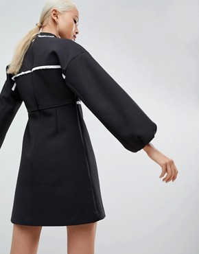 photo Mini Dress with Frayed Seam by ASOS WHITE, color Black - Image 2