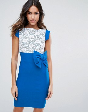 photo Mini Dress with Lace Panel and Bow Detail by Vesper, color Blue - Image 1