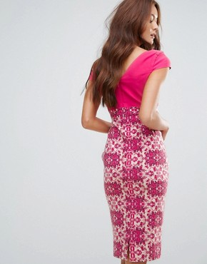 photo 2-In-1 Pencil Dress with Printed Skirt by Vesper, color Pink - Image 2