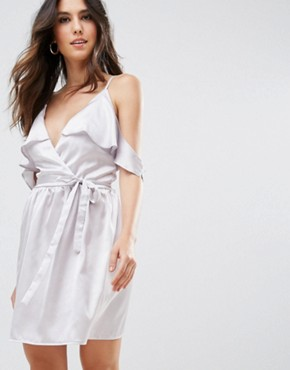 photo Satin Wrap Dress with Tie Waist by Oh My Love, color Silver - Image 1