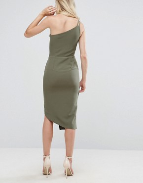 photo One Shoulder Midi Dress by Oh My Love, color Khaki - Image 2