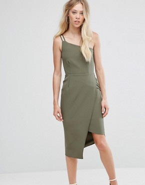 photo One Shoulder Midi Dress by Oh My Love, color Khaki - Image 1