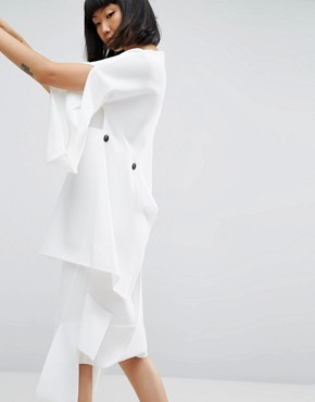 photo Midi Dress with Layered Button Detail by ASOS WHITE, color Cream - Image 2