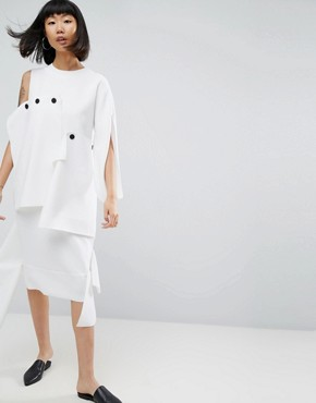 photo Midi Dress with Layered Button Detail by ASOS WHITE, color Cream - Image 1