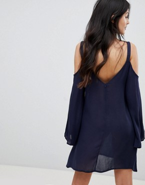 photo Bell Sleeve Cold Shoulder Tunic Dress with Embroidery by Lunik, color Navy - Image 2