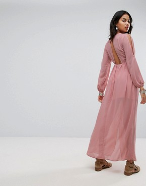 photo Shoulder Cut Out Maxi Dress with Button Hold Trim by Lunik, color Blush - Image 2