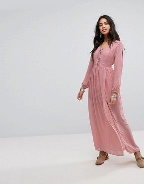 photo Shoulder Cut Out Maxi Dress with Button Hold Trim by Lunik, color Blush - Image 1