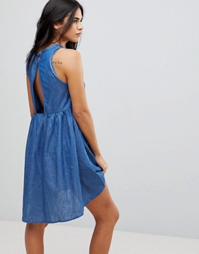 photo Denim Embroidered Swing Dress with Key Hole Back by Lunik, color Denim - Image 2