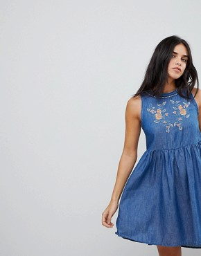 photo Denim Embroidered Swing Dress with Key Hole Back by Lunik, color Denim - Image 1