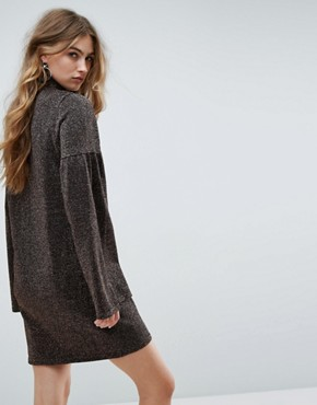 photo Knitted Dress in Metallic with Wide Sleeves by ASOS, color Bronze - Image 2