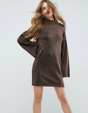 photo Knitted Dress in Metallic with Wide Sleeves by ASOS, color Bronze - Image 1