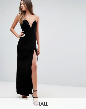 photo Structured Bandeau Maxi Dress with High Thigh Split by TTYA BLACK, color Black Velvet - Image 1