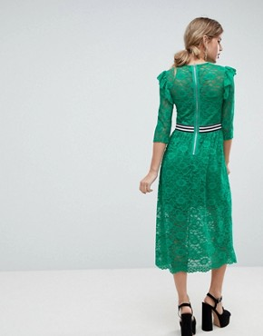 photo Midi Lace Tea Dress with Sports Tipping by ASOS, color Green - Image 2