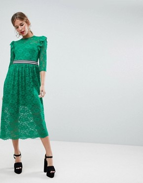 photo Midi Lace Tea Dress with Sports Tipping by ASOS, color Green - Image 1